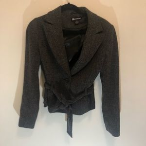 Jackets & Coats - Grey blazer with waist tie
